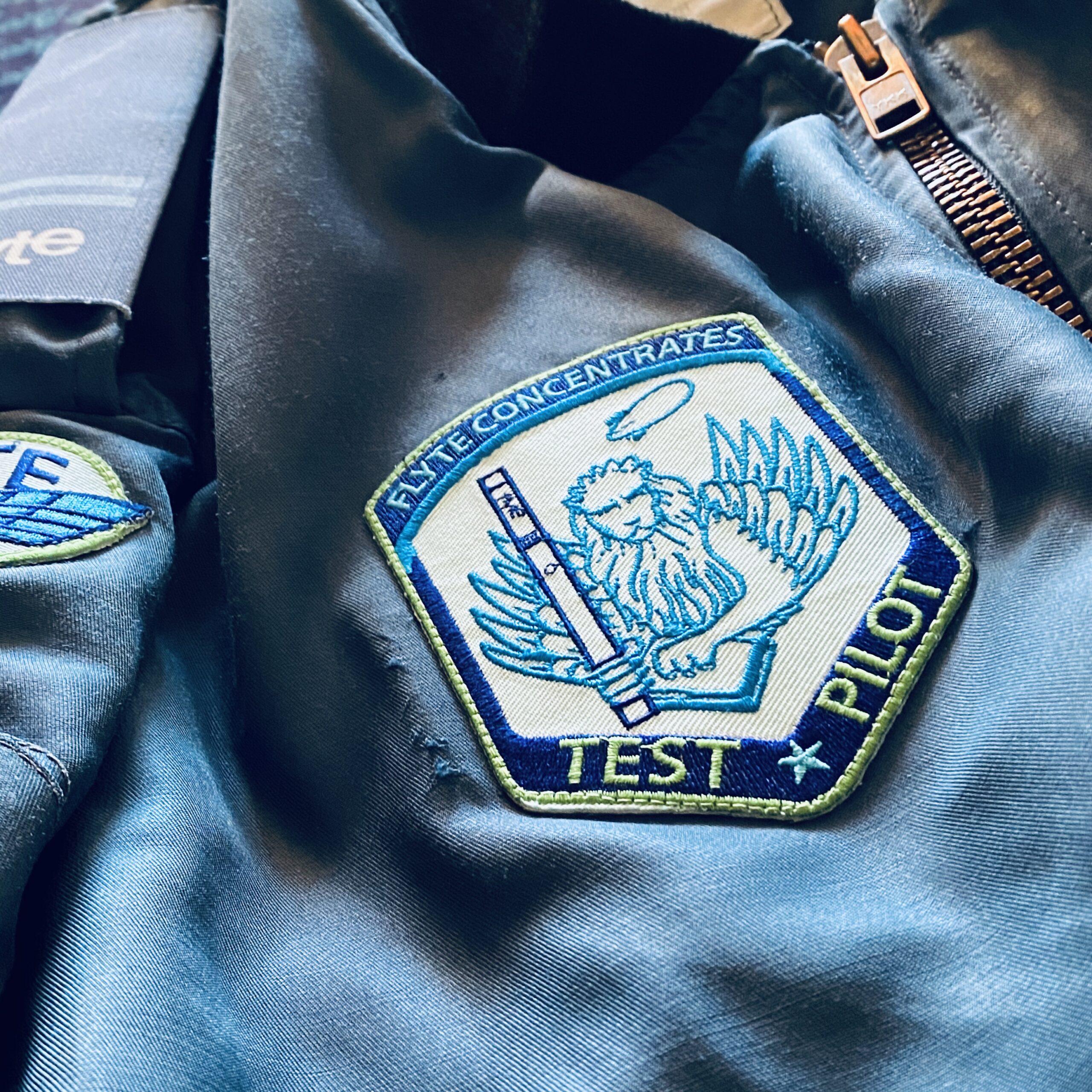 Flyte test pilot patch on genuine issue RCAF flight jacket.